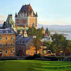 Lever du jour sur la vieille ville  #Quebec #Art #GalerieDart #Artwork #Artiste #Artist #LAndscape #Paysage #homedecor Le Petit Champlain, Quebec City, Photos Du, Land Scape, Mansions, Artwork, Artgallery, House Styles, Painting