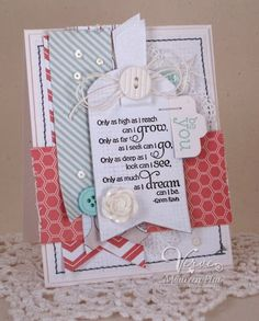 Card by Maureen Plut using Believe and Words of Wisdom from Verve.  #vervestamps