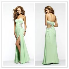 FreeShip 2014 Newest Popular Sexy Prom Dress Column Ruffled Bodice Beaded Dress Floor Length With HIgh Slit $80.00