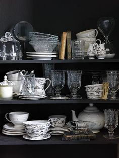 I love all clear and white dishes, not necessarily matching through design, but color. simply beautiful.