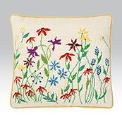 Meadow Flowers, a really pretty and quintessentially British wild flower needlepoint design.
