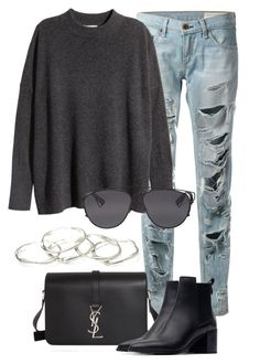 """""""Untitled #2125"""" by rosyfilm ❤ liked on Polyvore featuring rag & bone, H&M, Yves Saint Laurent, Zara, Emily Amey Jewelry and Christian Dior"""