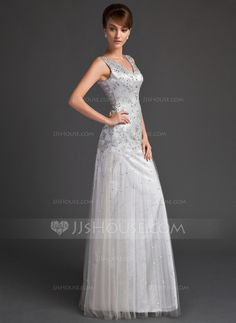 A-Line/Princess V-neck Floor-Length Tulle Charmeuse Mother of the Bride Dress With Lace Beading Sequins (008005647)