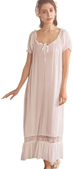 Shop a great selection of Women White Nightdress,Short Sleeve Vintage Nightgown Victorian Sleepwear Lounge Dress. Find new offer and Similar products for Women White Nightdress,Short Sleeve Vintage Nightgown Victorian Sleepwear Lounge Dress. Cotton Sleepwear, Sleepwear Women, Night Gown Dress, Vintage Nightgown, Nightgowns For Women, Victorian Fashion, Dresses Online, Short Dresses, Fashion Dresses