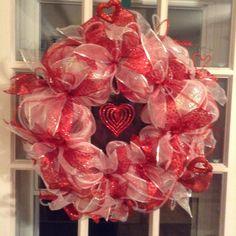 Valentine wreath made by Debbie Snyder.