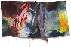 "Mary Lloyd Jones.  ""scarred land"".  Dyes on calico.  3'x6' 1990"