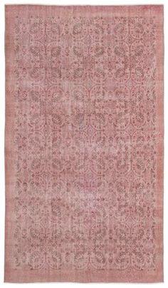 Pink Over Dyed Vintage Rug 5'7'' x 9'8'' ft 170 x 295 cm
