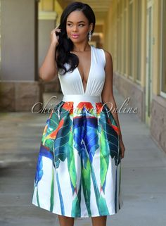 Chic Couture Online - Vanity Off-White Multi-Color Print Luxe Midi Skirt,  (http://www.chiccoutureonline.com/vanity-off-white-multi-color-print-luxe-midi-skirt/)