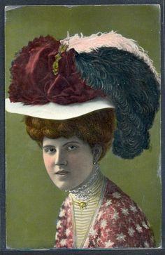 PF034 FEMME MODE CHAPEAU EDWARDIAN LADY FEATHER HAT FASHION Tinted PHOTO pc 1909
