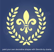 "vintage french stencils | STENCIL 8"" French Fleur Royal Laurel Wreath Design Pillow Craft Wall ..."