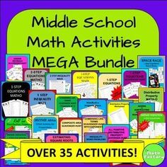 """This is a huge bundle that includes OVER 30 ACTIVITIES targeted for middle school!  There are scavenger hunts, mazes, task cards, partner worksheets, word problem practice, self-checking activities, """"get out of your seat"""" activities, STEM activities, BINGO, and more!"""
