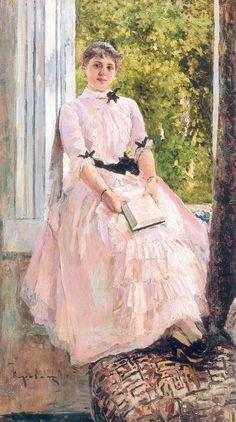 Konstantin Korovin. Portrait of the Artist Tatiana Spiridonovny Lyubatovich. 1880
