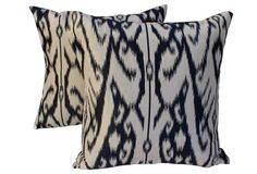 Manuel Canovas Silk Ikat Pillows, Pair