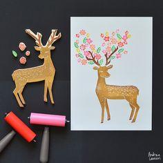 Deer with Flowers Art Print by Andrea Lauren