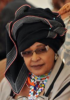 Winnie Madikizela-Mandela, former wife of Former South African President Nelson Mandela dressed in Xhosa tribe attire. Xhosa Attire, African Attire, African Dress, Nelson Mandela, African History, Women In History, Black History, African Beauty, African Women