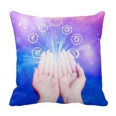 Chakra healing, aura,chakras,energy,chi,zen,yoga throw pillow