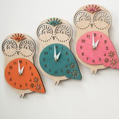 This Wood Owl Wall Clock is made of a light weight laser cut 1/4″ birch veneer core plywood that has been conditioned, sanded, and hand-dyed. Every nursery needs a clock, and this one is sure to charm! Available in a variety of colors to match any nursery decor.