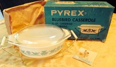 Vintage Pyrex Bluebird Casserole With Cradle 1.5 Qt No. 943-M-8 #Pyrex