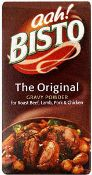 """The very first Bisto product, in 1908, was a meat-flavored gravy powder, which rapidly became a bestseller in the UK. It was added to gravies to give a richer taste and aroma. Invented by Messrs Roberts & Patterson, it was named """"Bisto"""" because it """"Browns, Seasons and Thickens in One"""". Tasty way to make stews deliciously thick with a great gravy ~ I have some in my cuboard now!"""