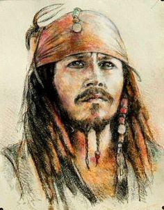 dessin portrait | Dessin portrait de Johnny Depp, pirate des Caraïbes.