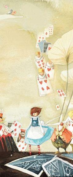 爱丽丝和扑克牌士兵们。