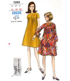Vintage 60s Tent Dress Pattern Vogue 7095 Seaming Detail ~ Seaming would make it easy to insert a pleat