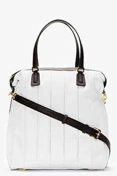 Maiyet White Leather Inverted Pleat Tote Bag for women | SSENSE
