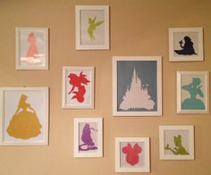 Disney Princess/Character Silhouettes Collage.  This would be such an inexpensive project, and so fun!  We could make all of our favorite characters!