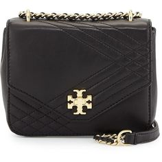 Tory Burch Kira Mini Quilted Crossbody Bag ($345) ❤ liked on Polyvore featuring bags, handbags, shoulder bags, black, tory burch crossbody, crossbody purse, crossbody, black handbags and quilted handbags