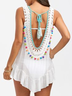 9773ae7be13 Sleeveless Crochet Cover Up with Pompom - WHITE ONE SIZE Vestidos De  Ganchillo