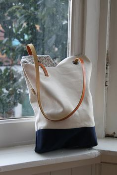 Tote bag  yin yang bag waxed cotton canvas with leather by rensz, $75.00