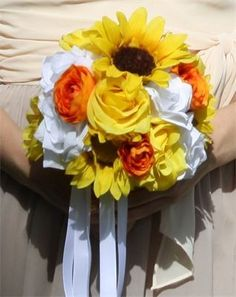 Sunflower, yellow roses, white roses, orange ranunculus Silk Wedding Bridal Bouquet