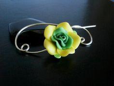 Sjaal Pin, sjaal Pin, gele groene bloem broche, Wire Wrapped Sieraden, Pin voor breiers, Wirework