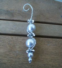 Elegant Silver and Pearl Icicle Ornament by QuietBendCreations