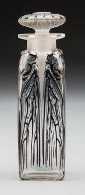 R. Lalique Clear Glass Quatre Cigales Perfume with Black Enamel Circa 1910. Engra