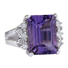 7.53 Carat Natural Violet Amethyst and Diamond 14K White Gold Cocktail Ring | Jewelry & Watches, Fine Jewelry, Fine Rings | eBay