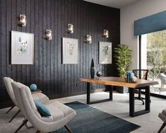 This stylish home office features dark wood walls and the beautiful Lookout wall sconces for a unique design look. The Lookout wall sconce has a modern classic styling that combines Brushed Nickel, clear seeded glass and handsome leather accents for an enduring sensibility that adds an uncomplicated elegance to any interior. Entirely at home in so many locations and lifestyles, the Lookout sconce is ideal to use when multiples are a must. #modern #office #interiordesign