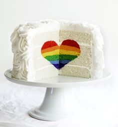 How to make an amazing surprise-inside Rainbow Heart Cake.  Step-by-step instructions and photos here.