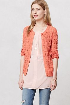 Coralie Pointelle Cardigan #anthropologie  But I want it in black even though I like the coral sweater!