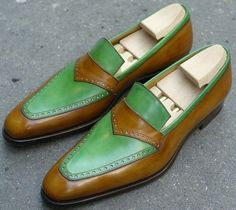 Handmade men tow tone brown green shoes, men leather shoes, men dress loafer sho