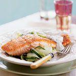 Salmon with Cucumber Salad and Dill Sauce Recipe | MyRecipes.com