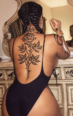 Unique Large Rose Spine Back Tattoo ideas for Women - Vintage Black Single Flower Tat - www.MyBodiArt.com #tattoos
