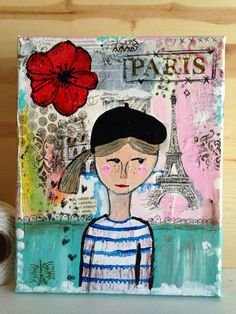 Original Mixed Media / Parisian Girl / Whimsical Art / Primitive 8 x 12