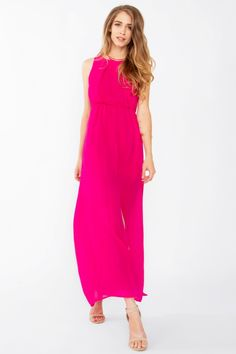 Hot Pink Sleeveless Full Length Maxi Dress With Front Slit -only $47! Buy at www.lilypadclothing.com and also at:www.stores.ebay.com/theofferbazaar. Hot pink sleeveless maxi dress with a front slit. Zipper closure on back. Partially lined. Quality made in the USA from 100% polyester material. Polyester is valued for its durability, good shape retention, lack of shrinkage, strength and wrinkle resistance. WE SHIP WORLDWIDE!!  Follow us on Pinterest at www/pinterest.com/lilypadclothing.com.