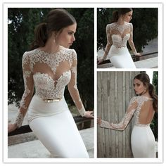 2014 Berta Long Sleeves Illusion Neckline Sheath White Wedding Gowns Sexy Backless Lace Appliqued Bridal Gowns Robe De Soiree