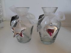 DECORATIVE SMALL GLASS BOTTLE WHITE GINGHAM BOW & SILVER HEART CHIC N SHABBY