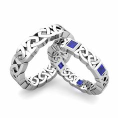 An Eternity Style Celtic Wedding Band for Him and for Her a Celtic Wedding Ring set with Natural Blue Sapphires