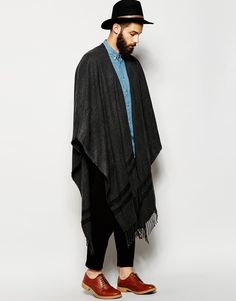 ASOS Charcoal Woven Cape With Tassles