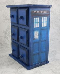 TARDIS Jewelry box...makes me wonder if I can do a dresser too!!