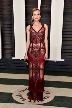 Pin for Later: Diane Kruger's Red Carpet Style Is So Stunning, We Can Hardly Believe She's Real  For the 2016 Oscars, Diane made quite the statement in a sheer Reem Acra look.